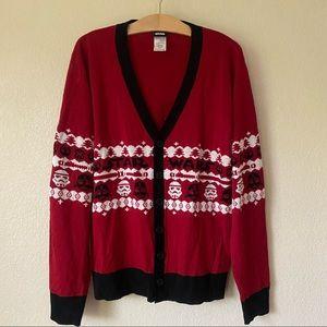 Star Wars Storm Trooper Christmas Sweater Cardigan Mens L LIKE NEW